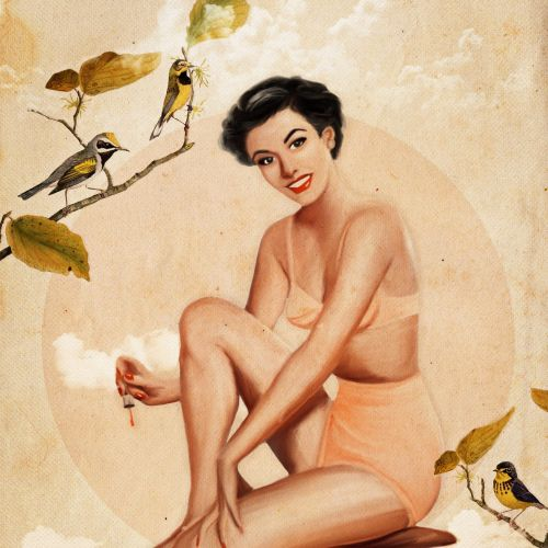 Lady sitting near birds illustration by Heather Landis