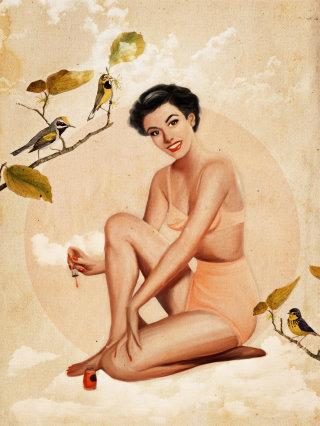 Lady sitting near birds illustration by Heather Landis
