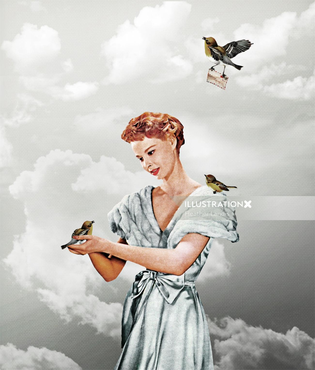 An illustration of a lady holding birds