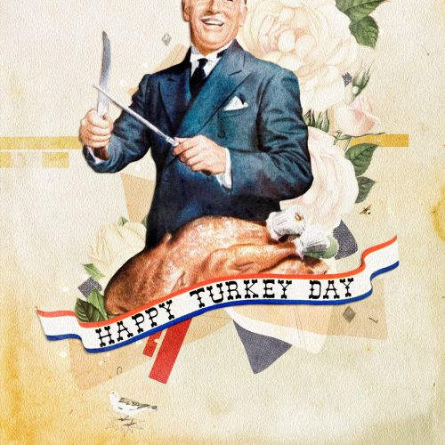 Happy Turkey day drawing by Heather Landis