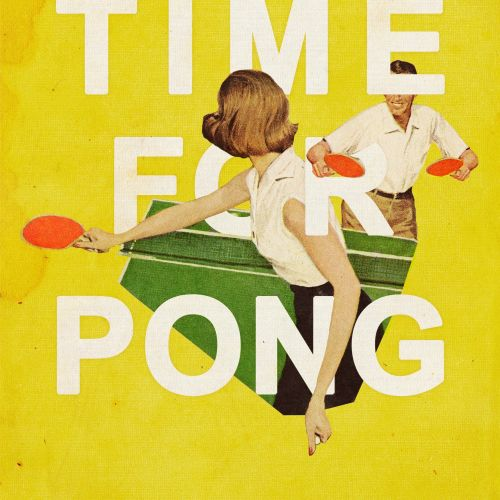 Couple playing ping pong illustration by Heather Landis