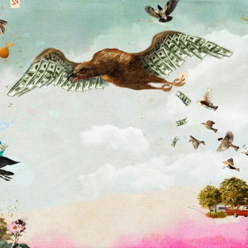 Eagle flying conceptual artwork