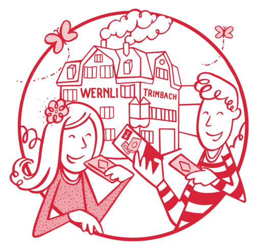Wernli factory illustration for biscuit packaging
