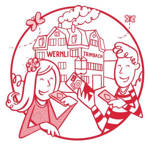 Ilustração de fábrica Wernli para embalagens de biscoitos