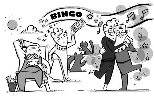 Black and white illustration of bingo