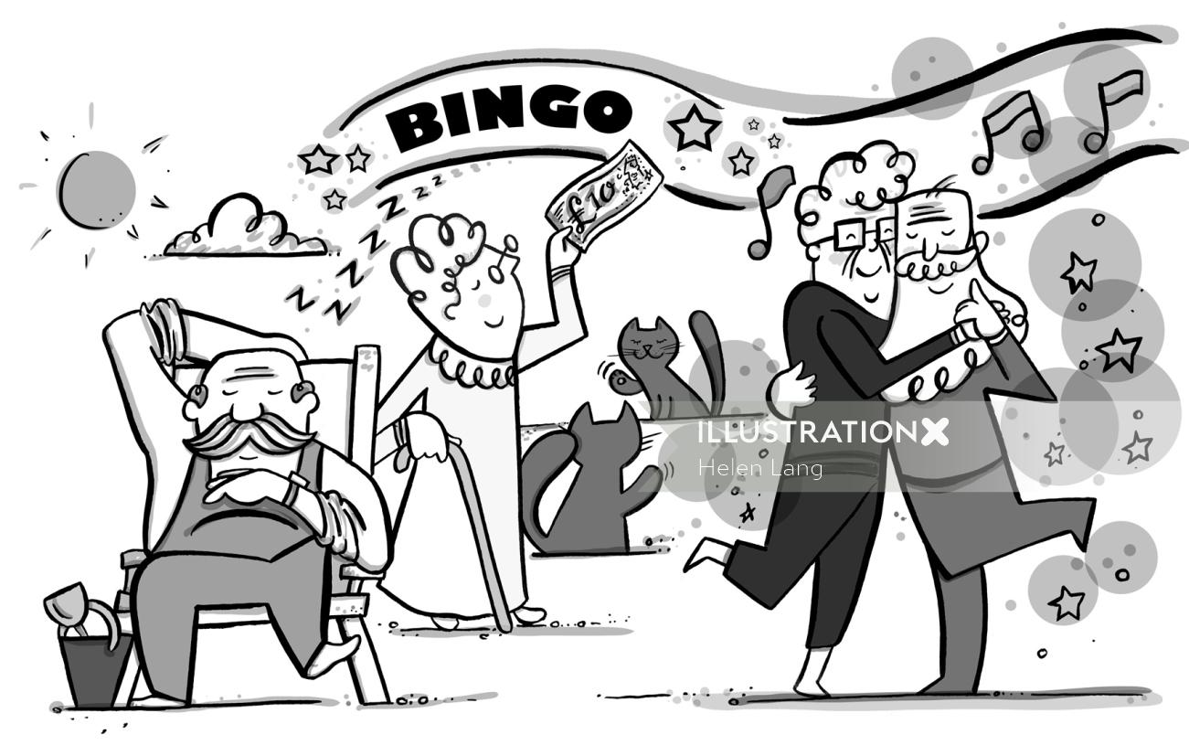Black and white illustration of bingo