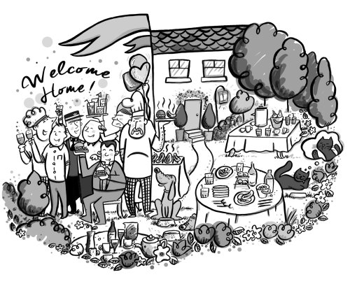 Welcome home black and white illustration