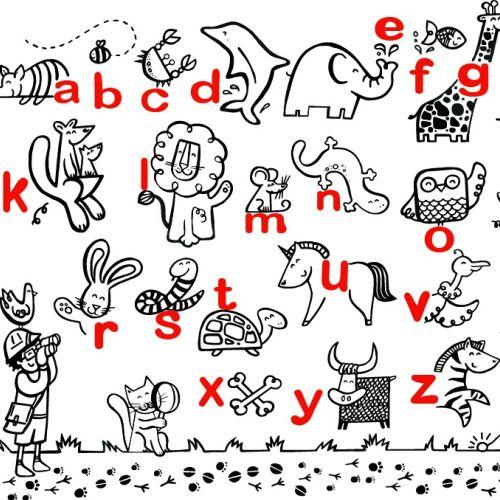 Line illustration of alphabet animals