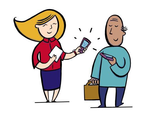 Ilustração de casais com celulares