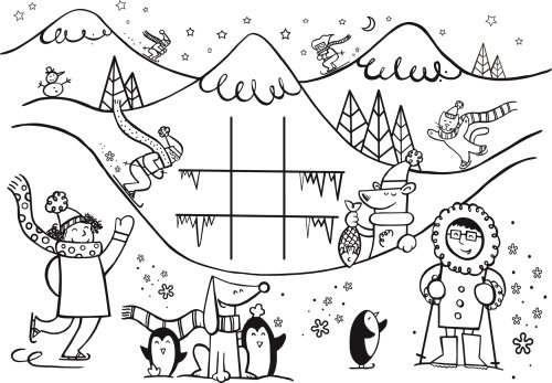 Line illustration of kids playing in snow