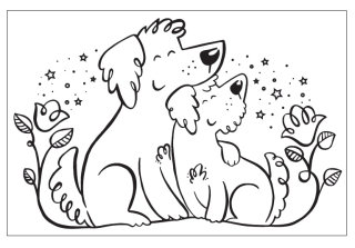 Black and white illustration of puppies