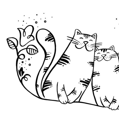 Black and white illustration of cats