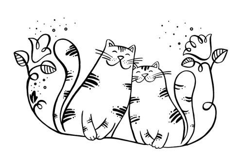 Ilustração a preto e branco de gatos