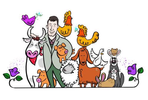 Animal family watercolor drawing