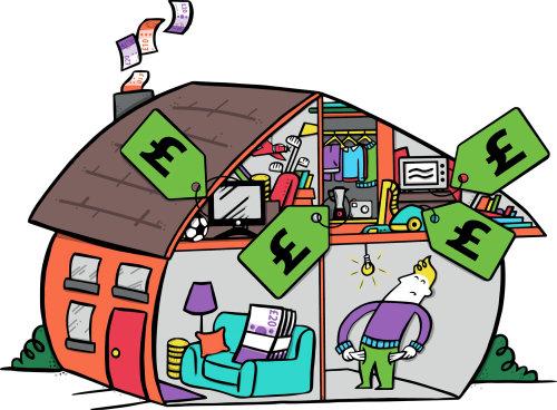 Illustration of money fiction