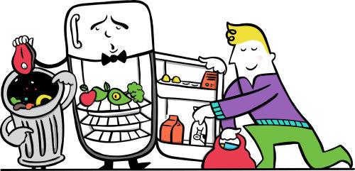 Ilustração de um personagem abrindo a geladeira