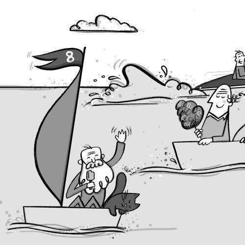 Line illustration of boat racing