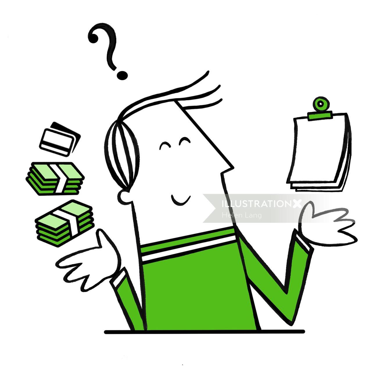 Conceptual illustration of money man