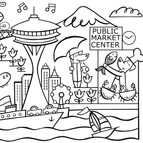 Black and white illustration of public market center