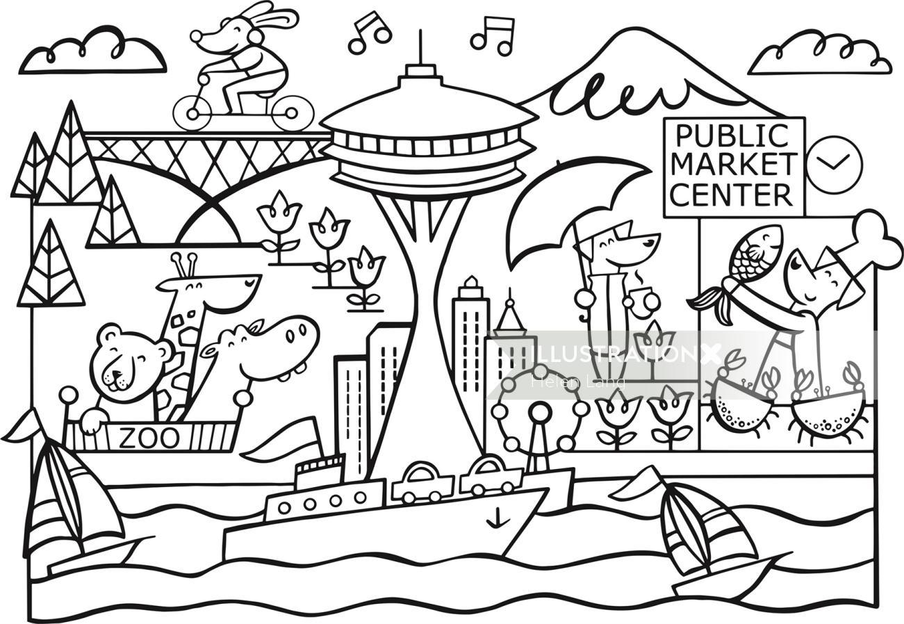 Black and white illustration of public market center