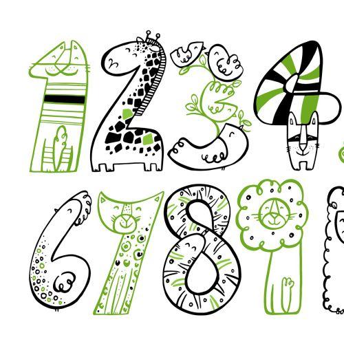 Illustration of decorative numbers