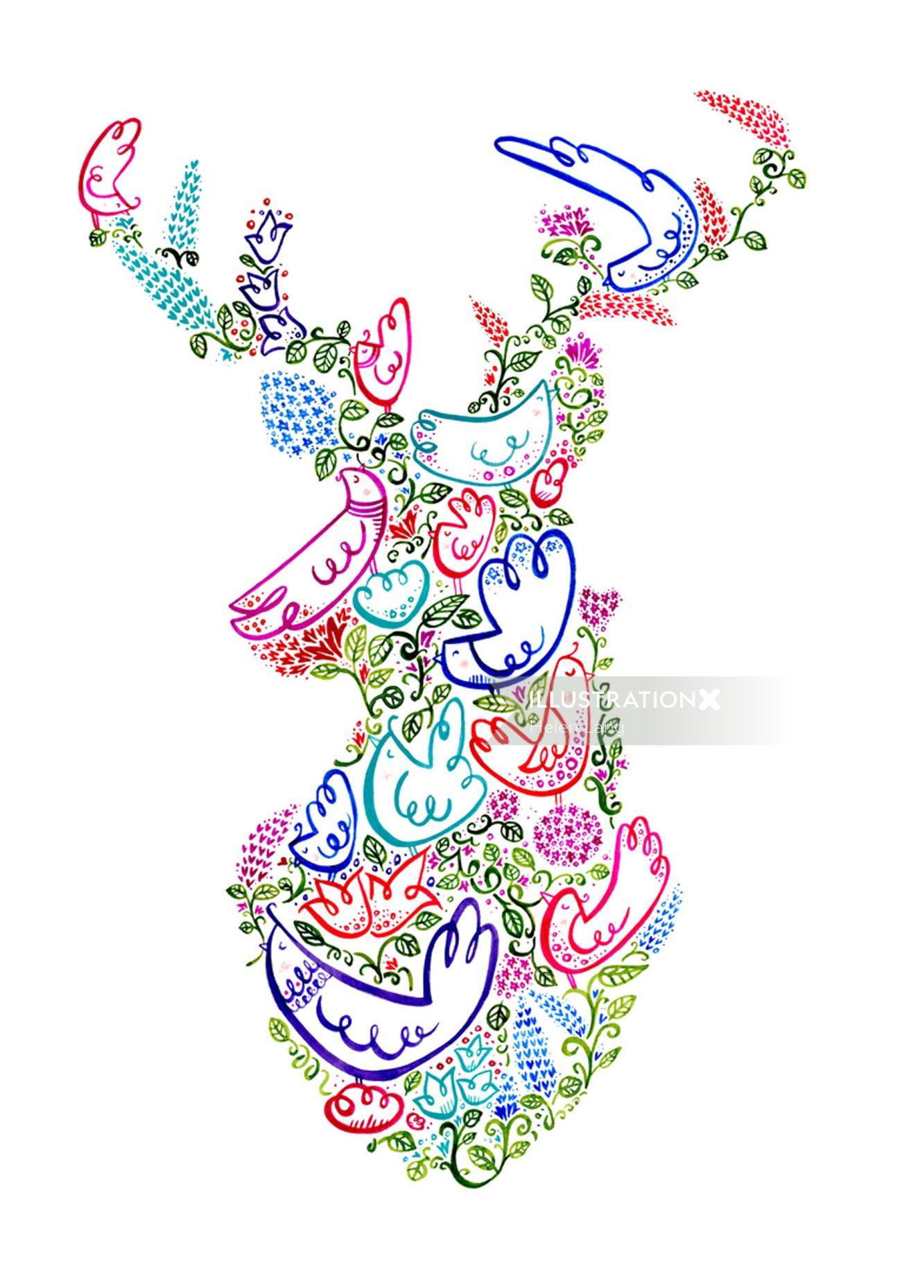 Decorative illustration of floral deer