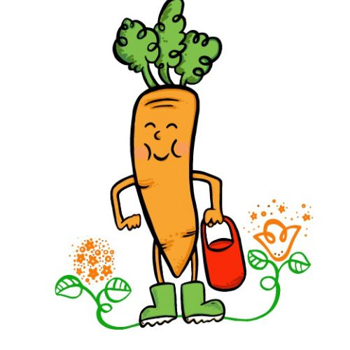 Cartoon illustration of carrot tree