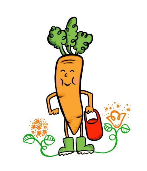 Cartoon illustration of carrot tree