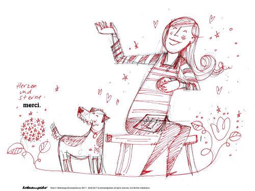 Desenho de linha de brincar com animais de estimação