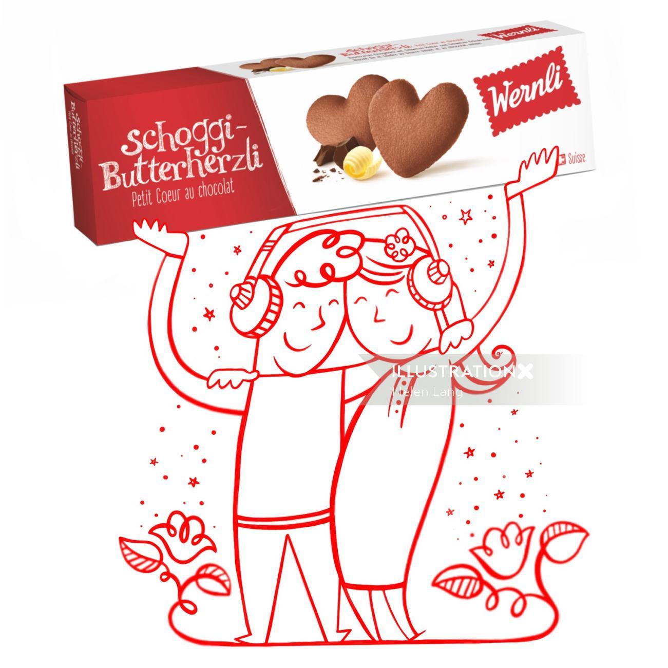 Advertising illustration of Wernli chocolat