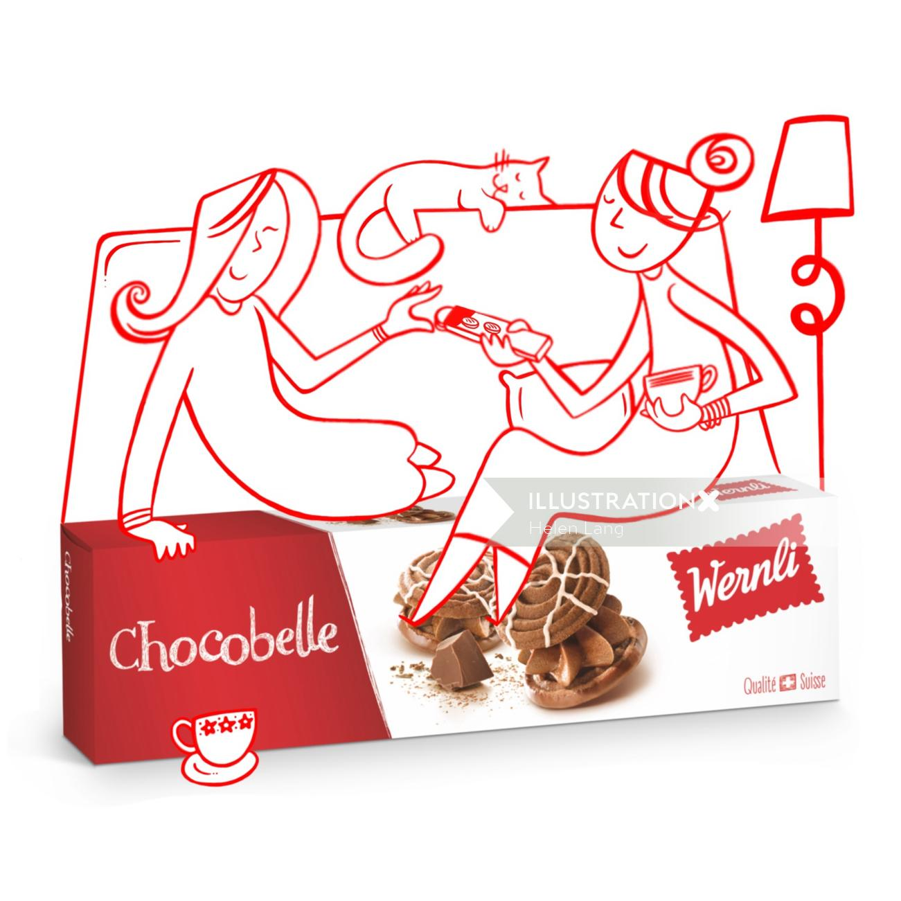 Advertising illustration of chocolate biscuit