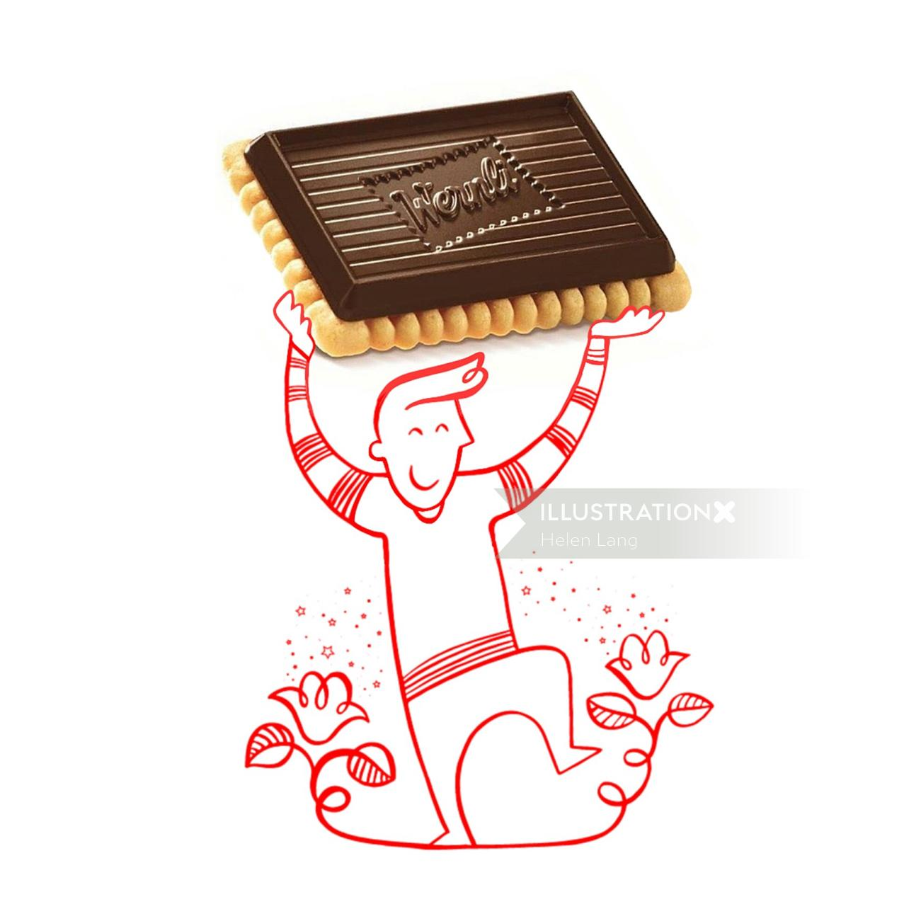 Wernli AG Biscuits advertising illustration