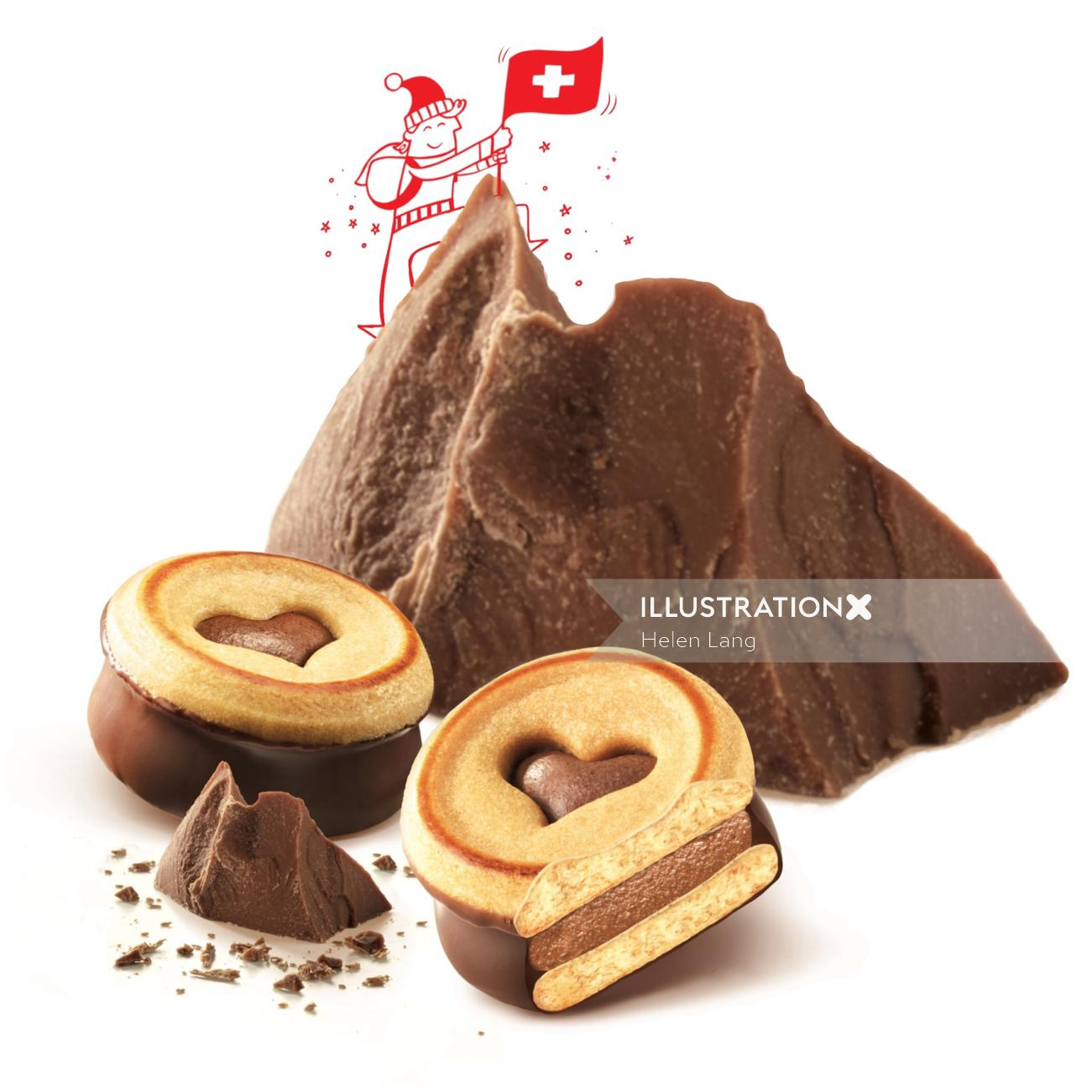 Graphic design of chocolate hill