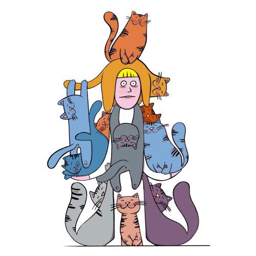 Graphic design of cat lady
