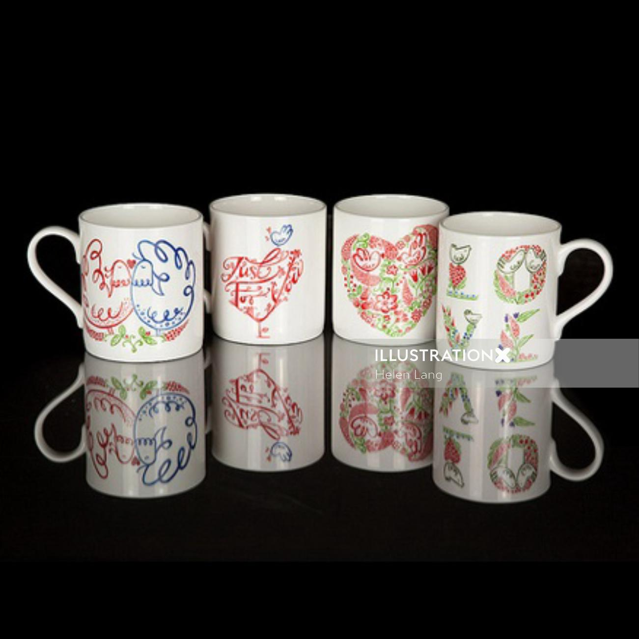 Illustration on coffee cups by Helen Lang