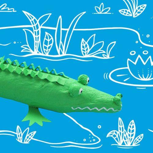 Line illustration of crocodile