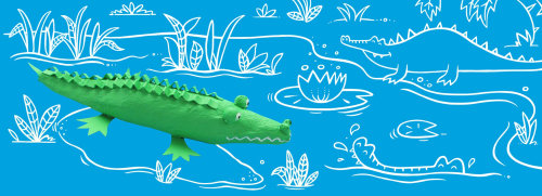 Line illustration of crocodile