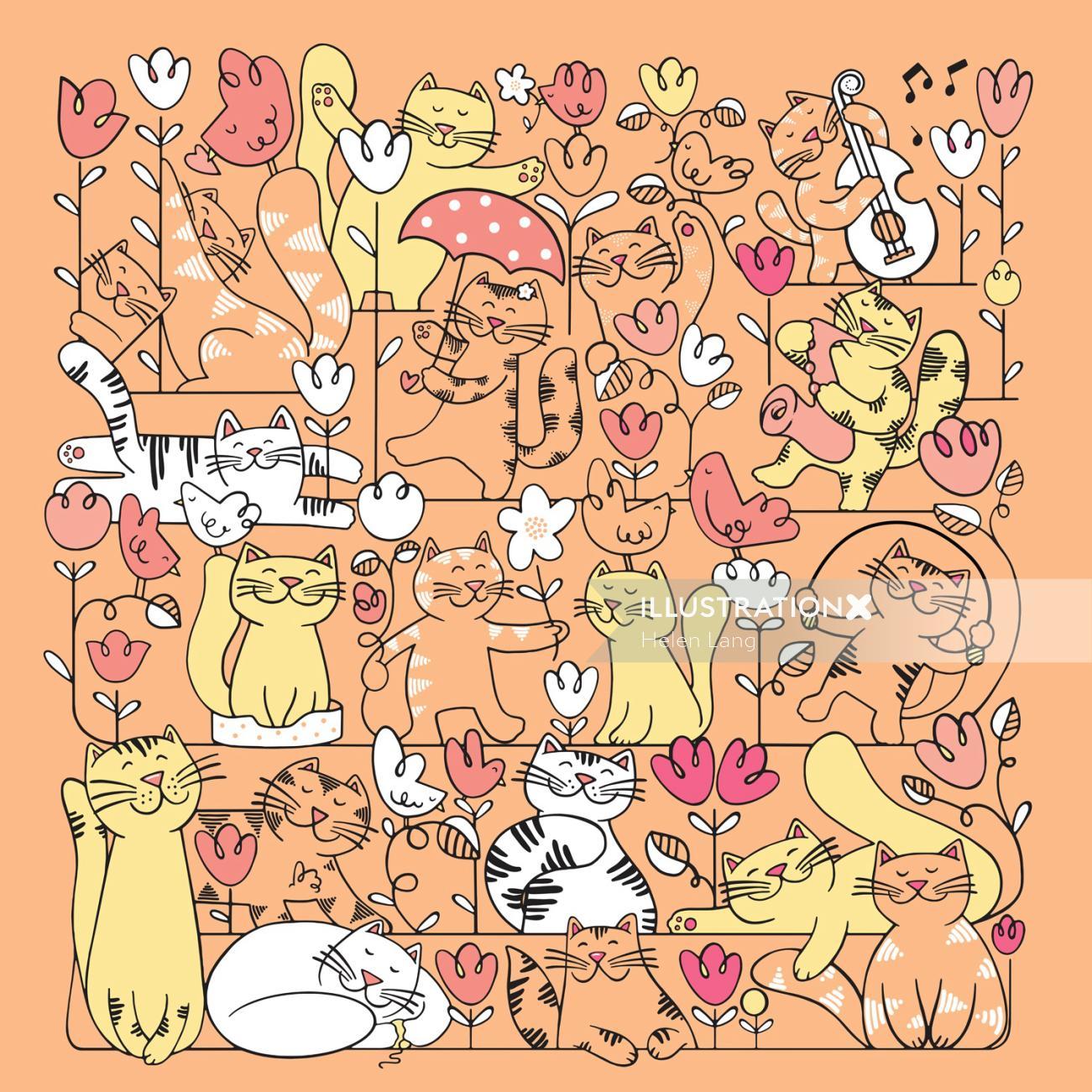 Busy cat illustration