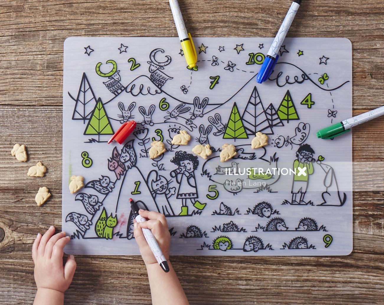 Live drawing illustration of nature