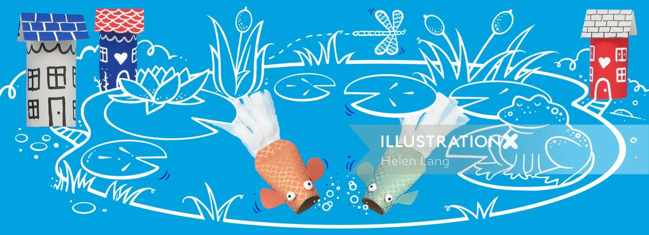 Graphic design of fishes