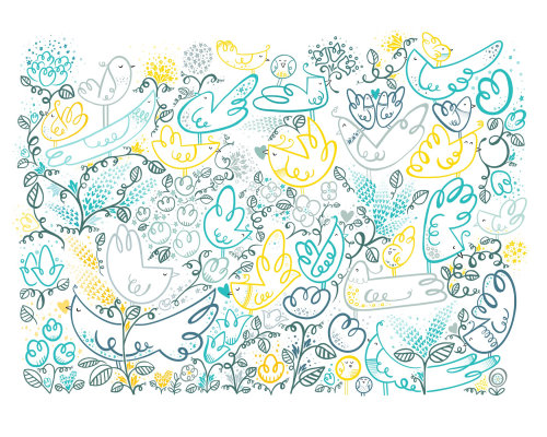 Watercolor painting of flowers pattern