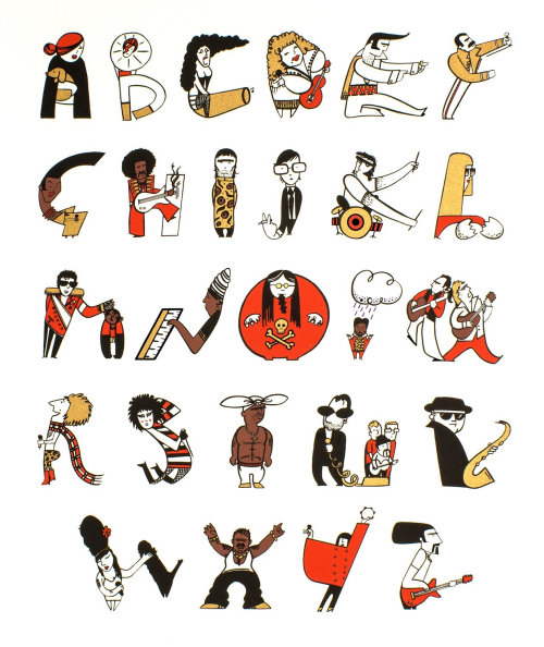 Ilustração do alfabeto da música