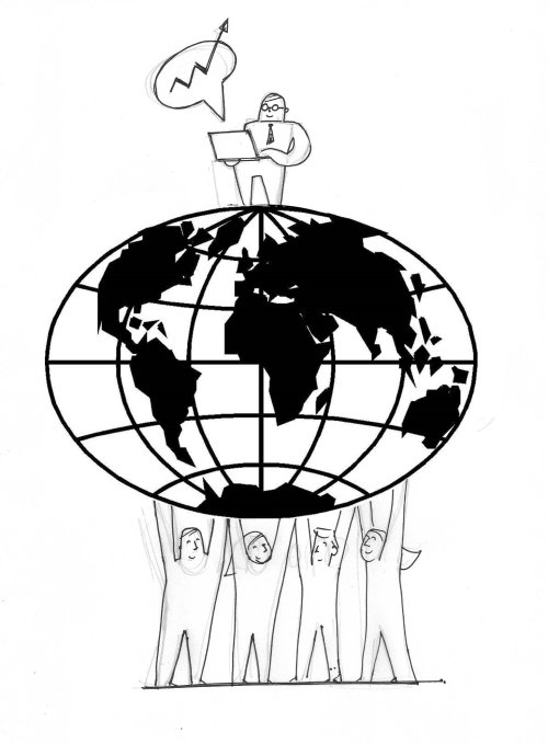 Ilustração de um personagem em pé no globo