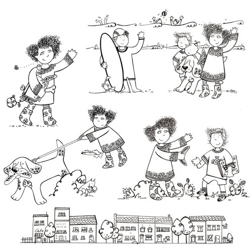 Ilustração de personagens em uma história