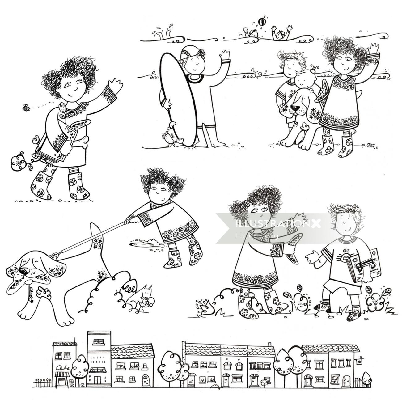 Illustration of characters in a story