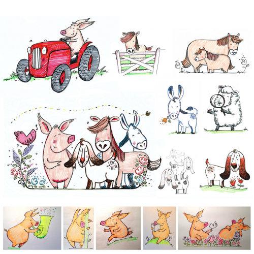 Ilustração de animais da fazenda