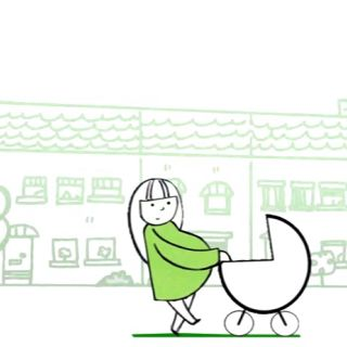 Animation of mother & baby walking in street scene