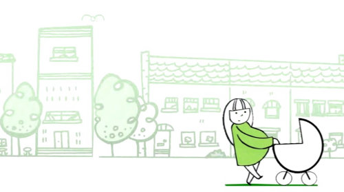 Animação de mãe e bebê andando na cena de rua