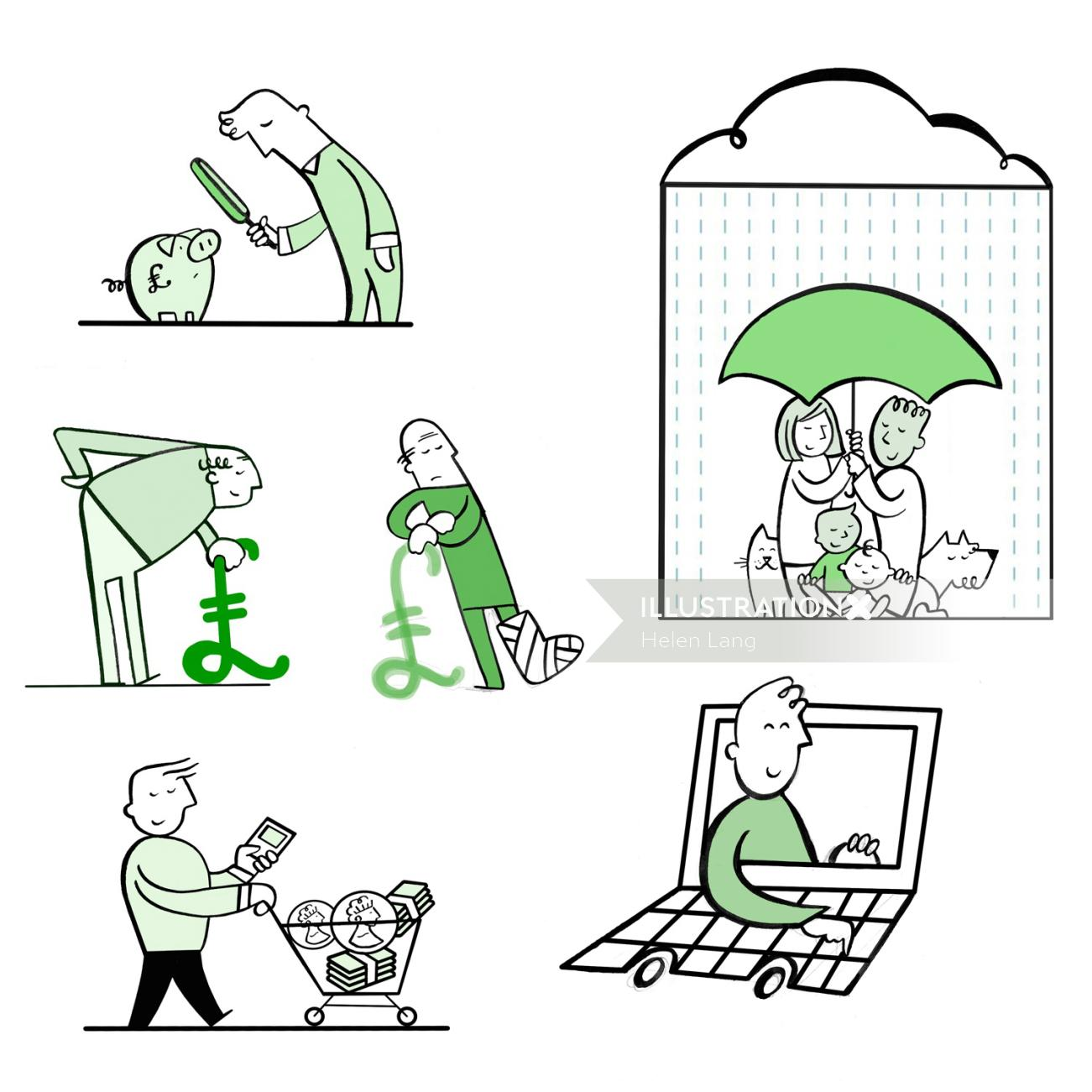 Conceptual illustration of family shopping