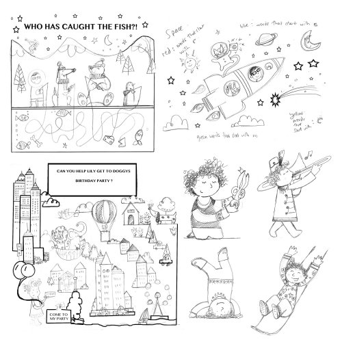 Ilustrações em preto e branco para livro infantil